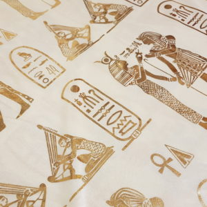 Egyptian Hieroglyphics Big Shawl / Oversized Scarf – Cream