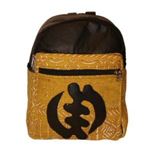 Bogolan Afrocentric Faux Leather Rucksack – Gye Nyame Large