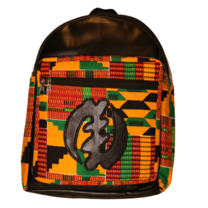 African Print Afrocentric Faux Leather Rucksack – Gye Nyame